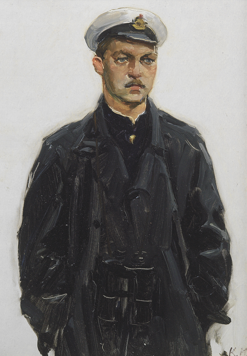 Kira Iwanova, Captain in Winteruniform , 1955, 35x250 oil on board